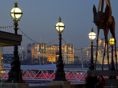 Embankment with Dali Sculpture at Dusk, London, England, United Kingdom-Charles Bowman-Photographic Print