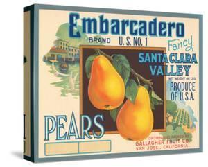 Embarcadero Brand Fancy Pears, Santa Clara Valley, U.S. No. 1
