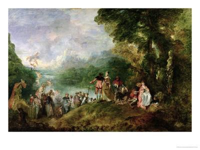 Embarkation for Cythera, 1717-Jean Antoine Watteau-Giclee Print