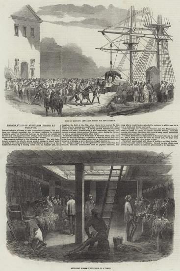 Embarkation of Artillery Horses at Woolwich--Giclee Print