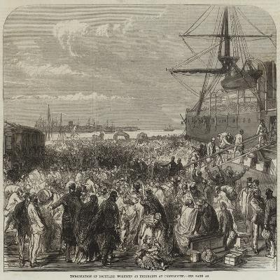 Embarkation of Dockyard Workmen as Emigrants at Portsmouth--Giclee Print