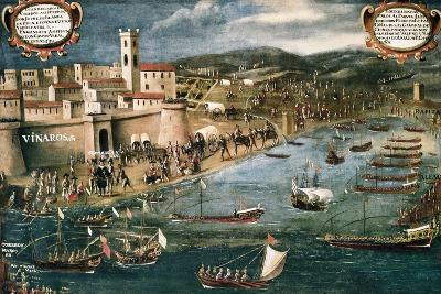 Embarkation of Moriscos in the Harbor of Vinaroz, Spain-Pere Oromig and Francisco Peralta-Art Print