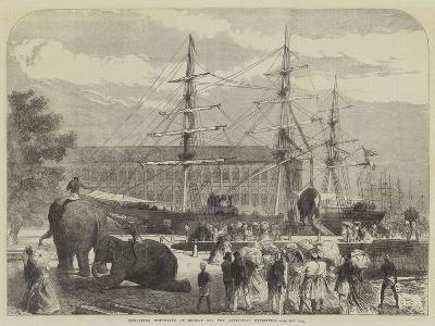 Embarking Elephants at Bombay for the Abyssinian Expedition-Charles Robinson-Giclee Print