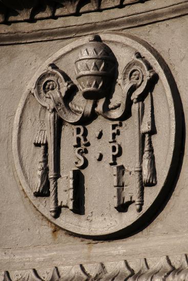 Emblem of Reverend Fabric of Saint Peter (Fabbrica Di San Pietro). St. Peter's Square. Vatican City--Photographic Print