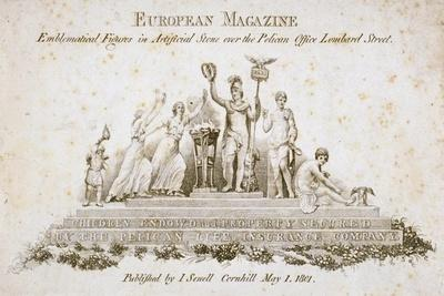 Emblematical Figures over the Pelican Life Office, No 70 Lombard Street, City of London, 1801--Giclee Print