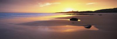 Embleton Bay at Sunrise, Dunstanburgh Castle in the Distance, Near Alwick, Northumberland, England-Lee Frost-Photographic Print