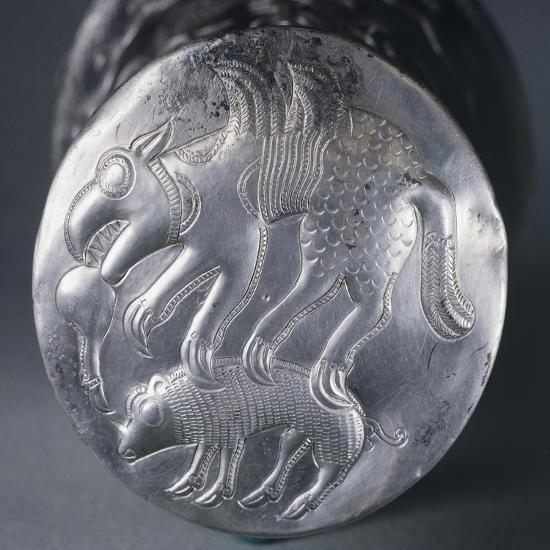 Embossed Silver Bottom of Vase Depicting Mythical Animal Attacking Another--Giclee Print