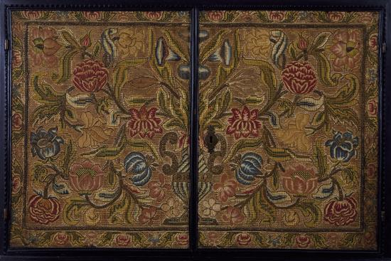 Embroidered Panel of Cabinet in Wood Painted Ebony Black, Italy, Detail--Giclee Print