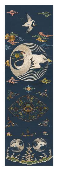 Embroidered Silk Chair Panel I, with White Cranes- Oriental School -Premium Giclee Print