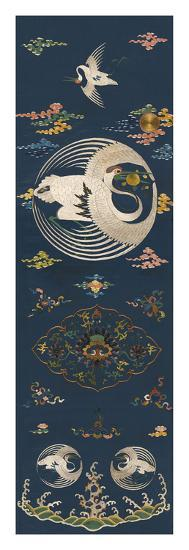 Embroidered Silk Chair Panel II, with White Cranes- Oriental School -Premium Giclee Print
