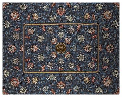 Embroidered Silk, Lotus Flowers on Blue- Oriental School-Premium Giclee Print