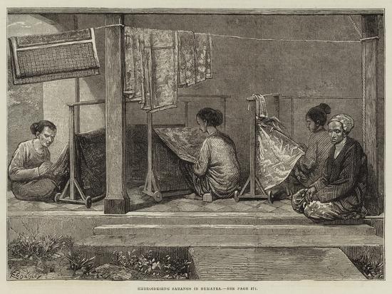 Embroidering Sarangs in Sumatra-Felix Regamey-Giclee Print