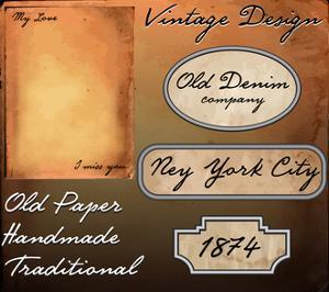 Vector Set: Premium Quality and Satisfaction Guarantee Labels, Old Paper Texture by emeget