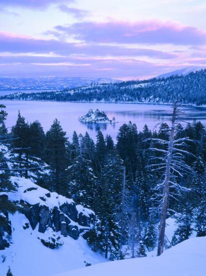 Lake Tahoe Winter Wallpaper Desktop Background: Emerald Bay State Park In Winter At Dusk, Lake Tahoe