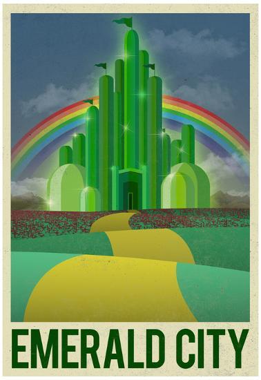 Emerald City Retro Travel Poster--Poster