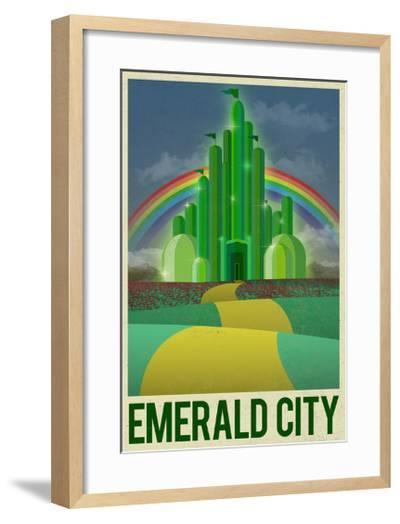 Emerald City Retro Travel Poster--Framed Art Print