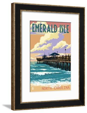 Emerald Isle, North Carolina - Fishing Pier-Lantern Press-Framed Art Print