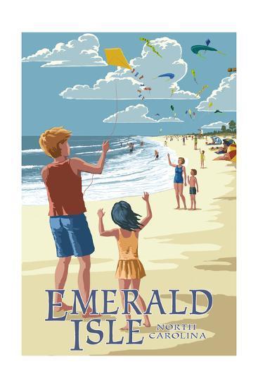 Emerald Isle, North Carolina - Kite Flyers-Lantern Press-Art Print