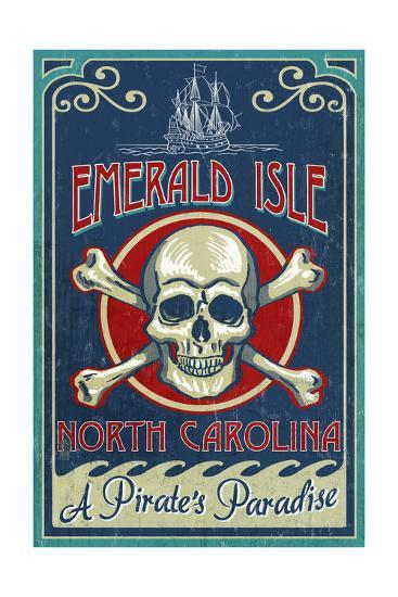 Emerald Isle, North Carolina - Skull and Crossbones Sign-Lantern Press-Art Print