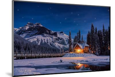 Emerald Lake Lodge in Banff, Canada during winter with snow and mountains at night with starry sky-David Chang-Mounted Premium Photographic Print