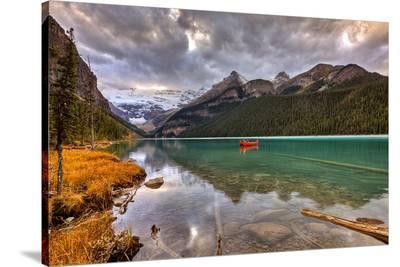 Emerald Lake Louise & Canoe--Stretched Canvas Print