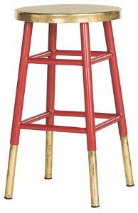 Emery Dipped Gold Leaf Counterstool - Red