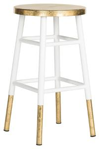 Emery Dipped Gold Leaf Counterstool - White