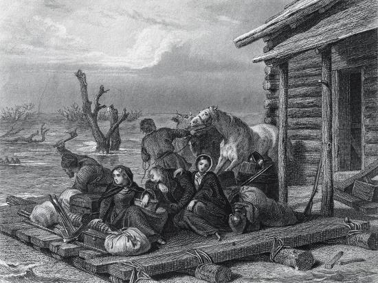 Emigrants on Raft in Canada--Giclee Print