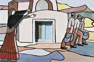 Emigration, Mural in Villamar, Sardinia, Italy
