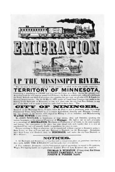 Emigration Up the Mississippi River Advertisement--Giclee Print