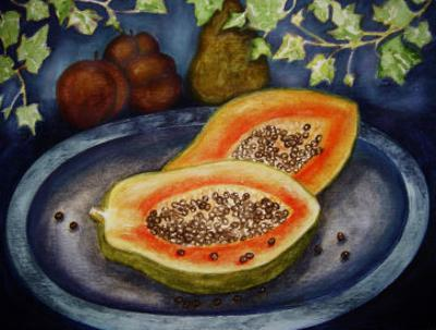 Assorted Fruit, Papaya, Plum, Pear Presented on Blue Platter Covered with Ivy