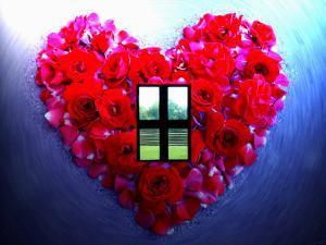 Roses Form Heart Shape with Window by Emiko Aumann