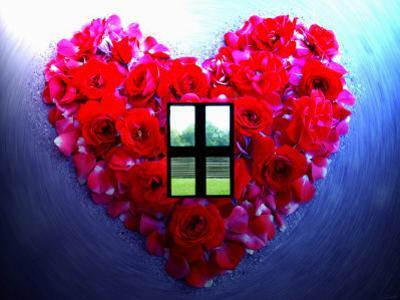 Roses Form Heart Shape with Window
