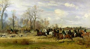 Emperor Franz Joseph I of Austria Hunting to Hounds with the Countess Larisch in Silesia, 1882 by Emil Adam