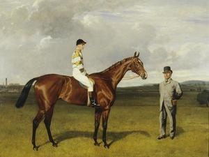 'Mimi' with Rickaby Up with Her Trainer, Mr Matthew Dawson, 1891 by Emil Adam
