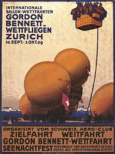 NY Herald Gordon Bennet Trophy Organizes Annual Contest, Spherical Balloons, Shown Swiss Helvetia by Emil Cardinaux