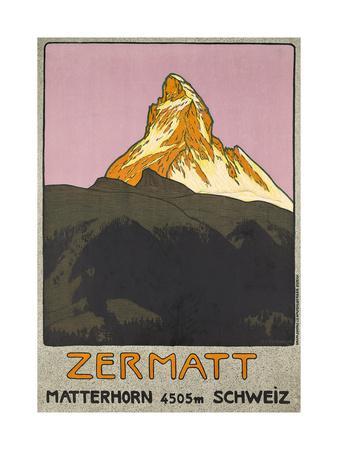 Zermatt. Plakatwerbung für Zermatt in der Schweiz. 1908