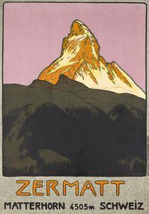 Zermatt. Plakatwerbung für Zermatt in der Schweiz. 1908 by Emil Cardinaux