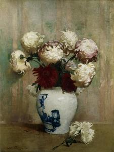 Mums in an Oriental Vase by Emil Carlsen