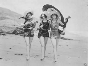 Frolicsome Trio of American Bathing Beauties Wearing the Latest Swimsuit Costumes by Emil Otto Hopp?