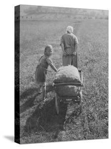 Austrian Farmer Worker and Child Going Home at the End of the Day, Molln, Austria by Emil Otto Hoppé