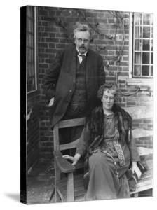 British Author G. K. Chesterton and His Wife Outdoors, in Portrait by Emil Otto Hoppé