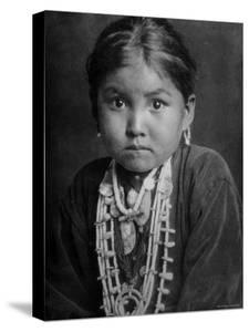 Portrait of Small Girl in Costume, Who is Native American Navajo Princess by Emil Otto Hoppé
