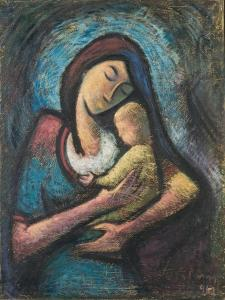 Mother with Child, 1962 by Emil Parrag