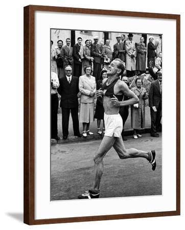 Emil Zatopek Running in Marathon at 1952 Olympics
