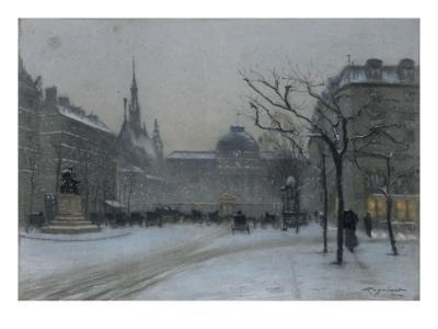 Vue du palais de Justice de Paris : façade sur le Boulevard du Palais