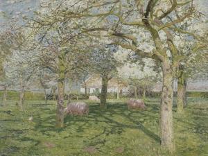 Le verger au printemps by Emile Claus