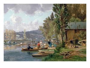 Bougival, 1873 by Emile-Edme Laborne