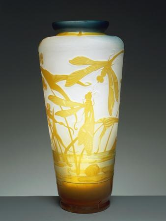 Glass Vase with Blue Mouth Decorated with Orange Dragonflies and Aquatic Plants