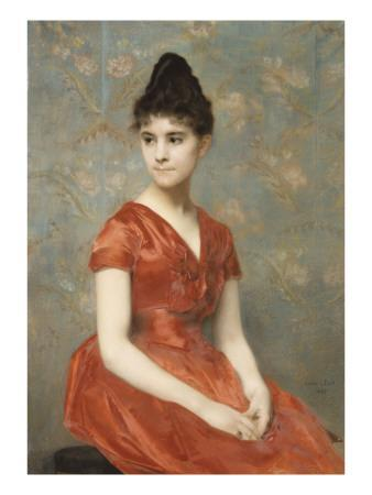 Jeune fille en robe rouge sur fond de fleurs